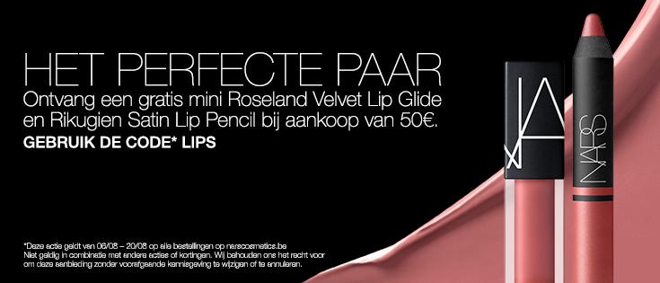 HET PERFECTE PAAR - Ontvang een gratis mini Roseland Velvet Lip Glide en Rikugien Satin Lip Pencil bij aankoop van 50€. GEBRUIK DE CODE* LIPS